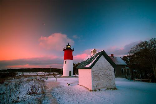 winter light cloud lighthouse sunrise cape cod today eastham nauset dapixara