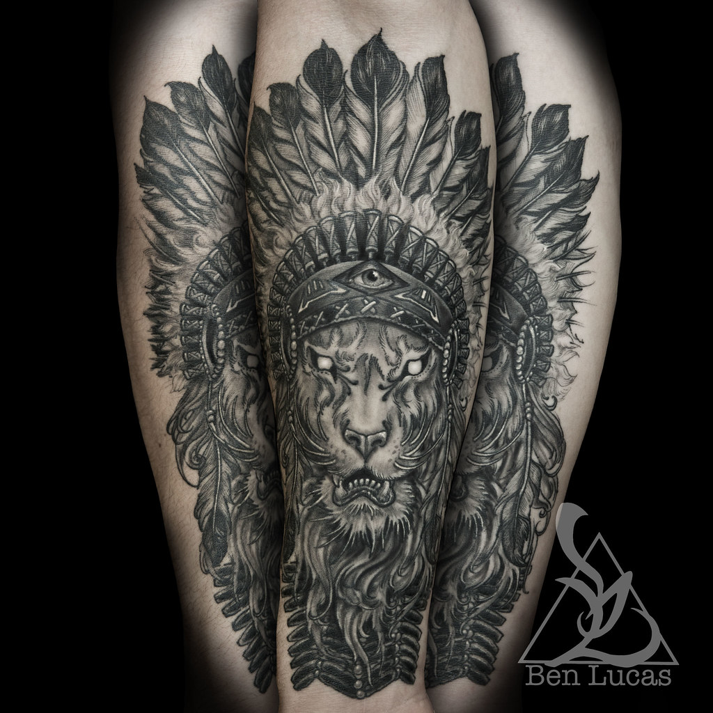 6717bc1ec Brandons-lion-with-indian-headdress-in-black-and-grey-inner-forearm-tattoo -by-ben-lucas-at-eye-of-jade-in-chico-ca-usa