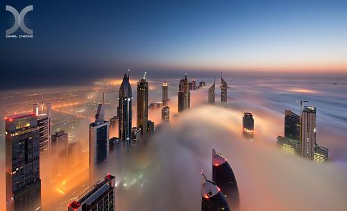 city morning cloud fog dawn dubai uae