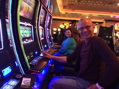 Jared and Angie playing slots at Horseshoe Casino in Bossier City, LA