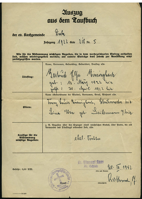 Auszug aus dem Taufbuch, Gertrud Elsa Einsingbach, Dreba 1922