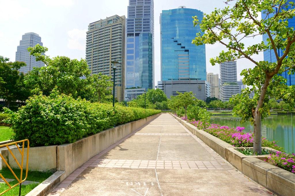 Path around the lake in Benjakiti Park, Bangkok, Thailand
