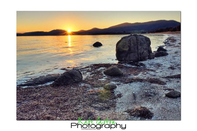 Sunset over Dunalley Beach
