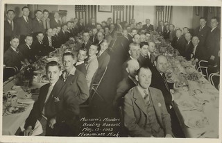 UP Menominee MI RPPC 1942 RARE CYRIL QUEVERS BEER GARDEN Handsome Young Men in Bar attending MEISSNERS MINIATURE BOWLING BANQUET on 13th Street in FINN TOWN
