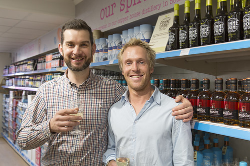 Tom and Tom near the spirits section
