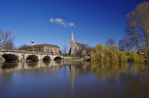 shrewsbury english bridge severn river water reflection sky blue clear light stone