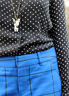 Black and White Polka Dots, Boston Terrier Necklace, Blue Trousers   by petitepanoply