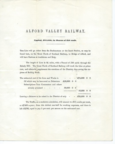 Alford Valley Railway small prospectus 1850 | by ian.dinmore