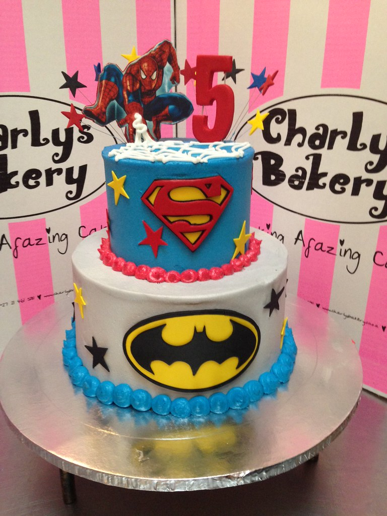 Astounding 2 Tier Superhero Cake With Edible Mounted Photo Poster On Flickr Funny Birthday Cards Online Overcheapnameinfo
