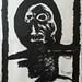 """Figura antropomórfica numa moldura""./""Anthropomorphic figure in a frame"". Pincel sobre papel/Brush on paper, 1987."