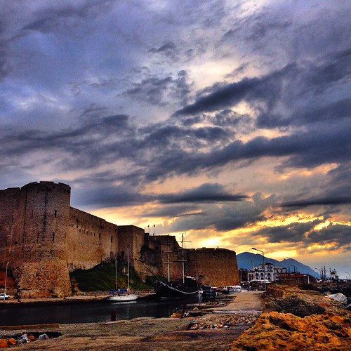 sunset sky sun castle harbour north cyprus historic kale liman kibris girne trnc kyrenia cyp