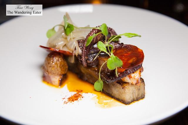 Octopus & pork belly with roast fingerling potatoes, chorizo, arugula, pickled fennel
