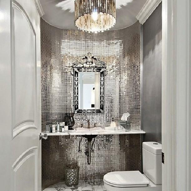 Atlanta Living! #bathroom #vanity #silver #shines #bling ...