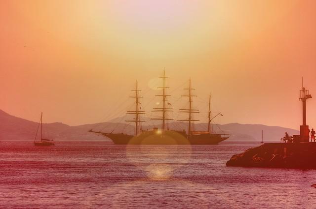 Sailing ship of the Dubrovnik coast
