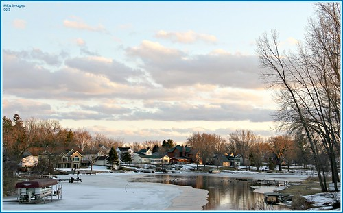 sunset clouds colorful reflection water river channel snow ice winter trees nature foxlake wisconsin canon canoneos60d picmonkey:app=editor