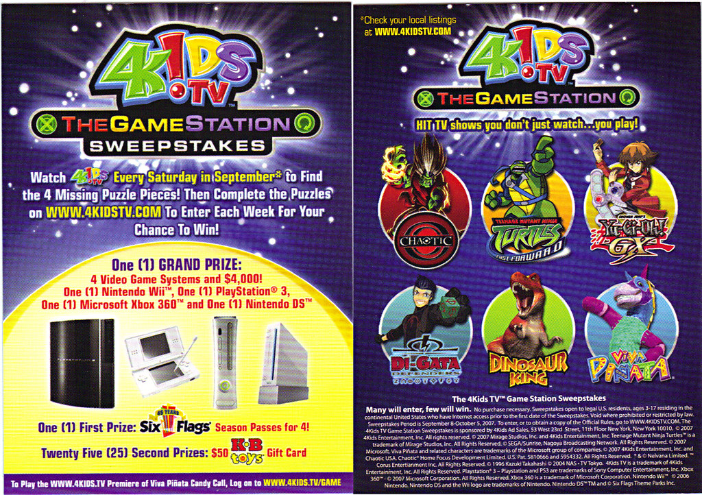 4KIDS TV - 'THE GAME STATION' :: K•B TOYS EXCLUSIVE,LIMITED EDITION COLLECTIBLE CARDS // ..sweeps details card (( 2007 )) by tOkKa