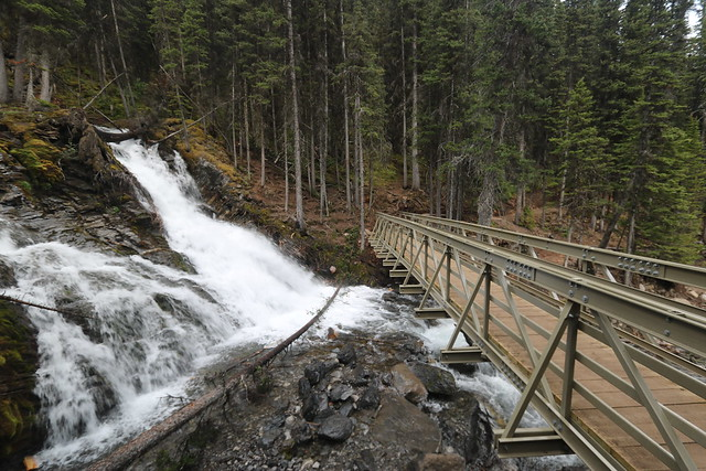The new bridge at Sarrail falls Kananaskis