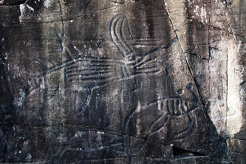 Ancient First Nation Petroglyphs at Sproat Lake Provincial Park, Port Alberni, Vancouver Island, British Columbia, Canada