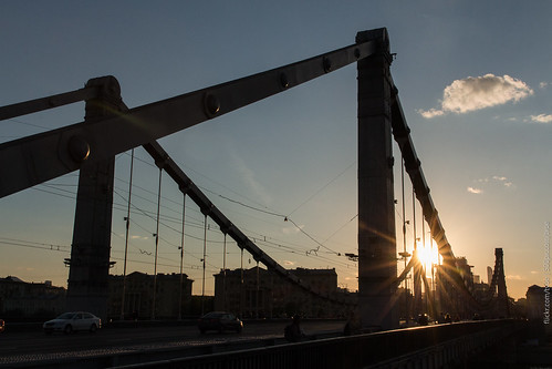 street city bridge urban sunlight daylight spring iron traffic russia moscow krymskybridge