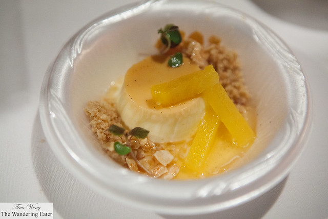 Smoked vanilla flam with rum pineapple and salted almonds by North End Grill