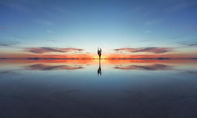 Yoga mirror sunset