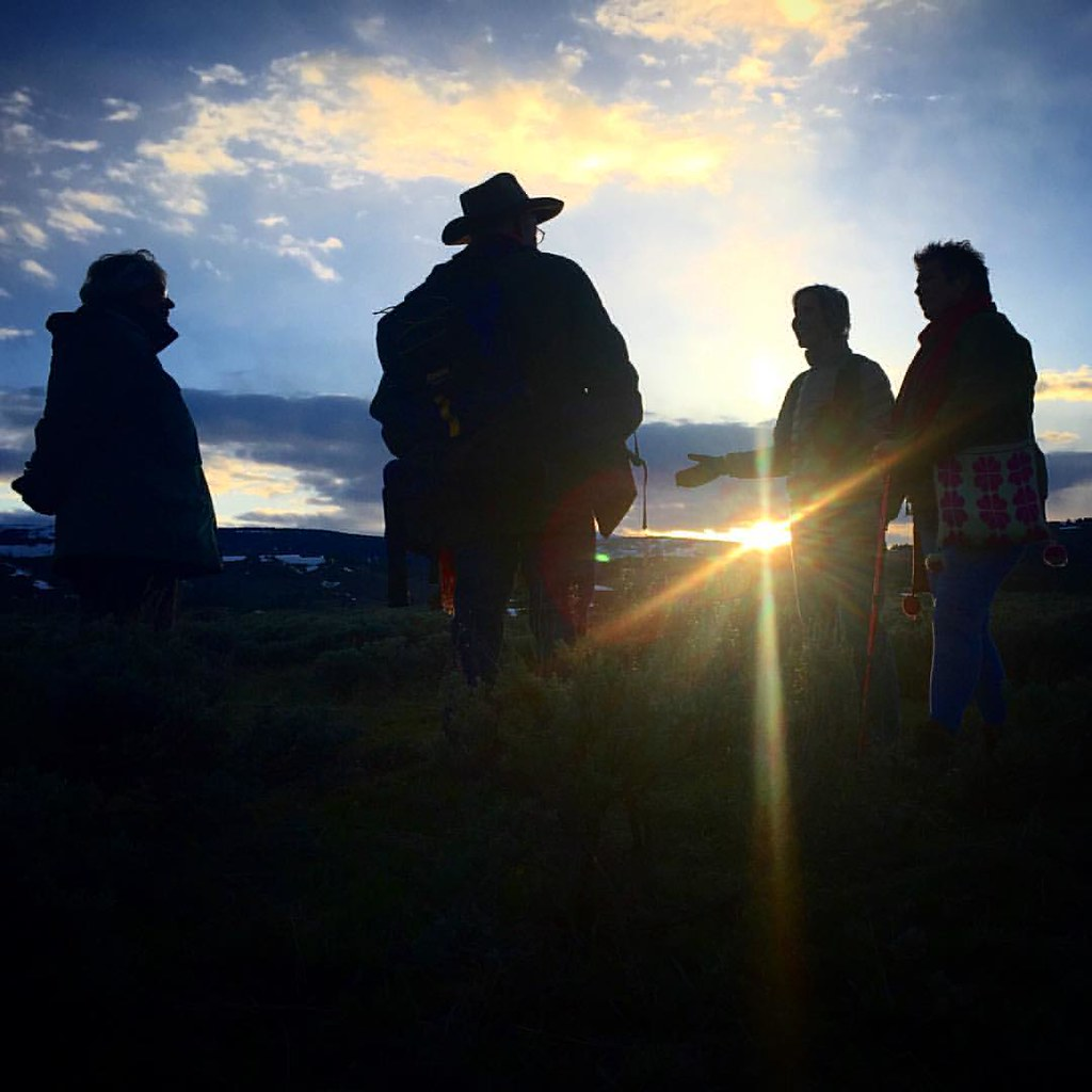 Some of us enjoying a serene sunset after a powerful pilgrimage and hike in Yellowstone.   #Yellowstone #Nature #shamanism
