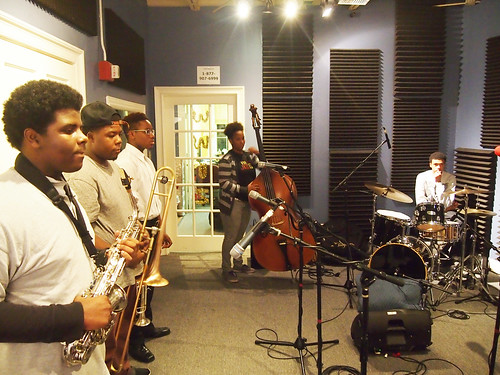 Brandon Shelton on sax, Jeffery Miller on trombone, and Keith Hart on trumpet, Ariyan Brister on bass, and Alphonse Waples on drums: NOJO Student Ambassadors at WWOZ for Cuttin' Class.