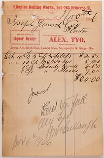 Kingston Bottling Works Invoice- Joseph Yanch 1906
