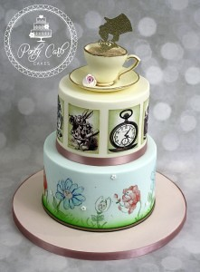 Remarkable Alice In Wonderland 2 Tier Handpainted Birthday Cake Flickr Personalised Birthday Cards Cominlily Jamesorg