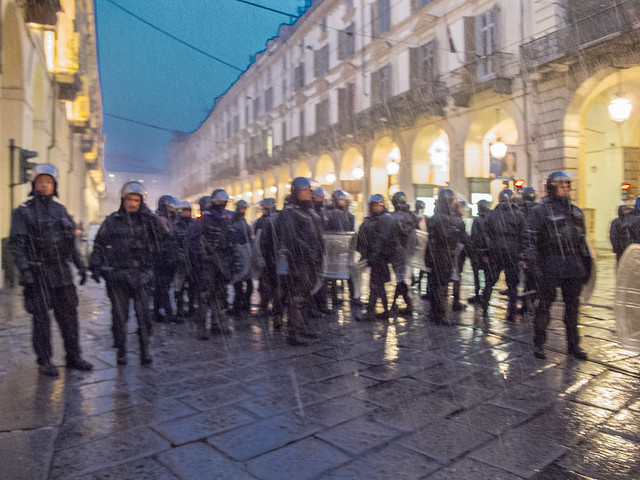 Riot police in the rain. Torino, January 2012.