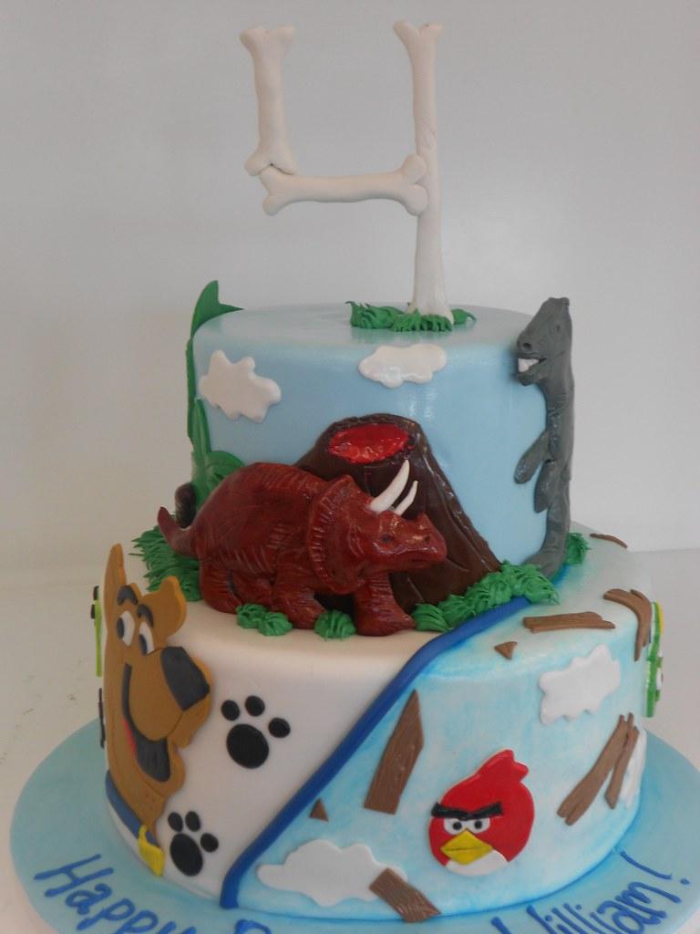 Scooby Doo Angry Birds Dinosaur Birthday Cake 1785