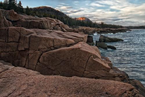 ocean trees sunset sea vacation sunlight mountains beach nature forest evening rocks shore geology acadia acadianationalpark seasacpe