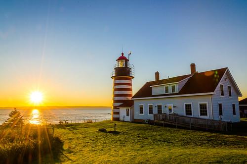 ocean autumn lighthouse fall nature sunrise coast day unitedstates maine scenic newengland atlantic clear coastline lubec quoddyhead viktorposnov theeasternmost