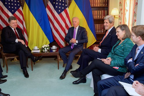 Vice President Biden, Secretary Kerry, Assistant Secretary Nuland Sit With Ukrainian President Poroshenko Before Meeting on Sidelines of Munich Security Conference | by U.S. Department of State