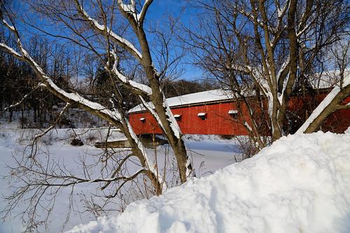 winter coveredbridge snowcoveredlandscape buskirkbridge