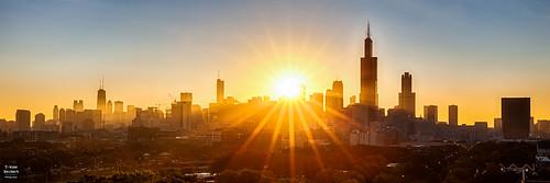 skyline chicago sonnenufgang sunrise sonne sun sunrays sonnenstrahlen hancockcenter johnhancockcenter willistower searstower hdr illinois usa