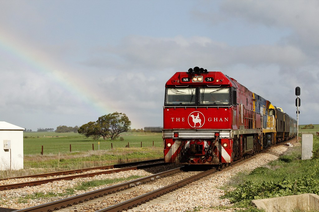 The Ghan and a rainbow by Greensleeves.94