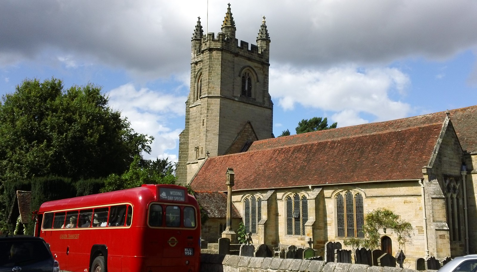 St Mary's Chiddingstone wedding Special vintage bus to ferry guests?
