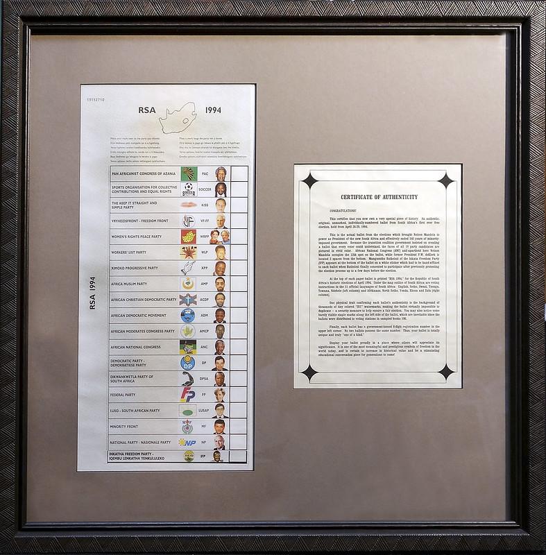 Framed original ballot from the 1994 election of Nelson Mandela
