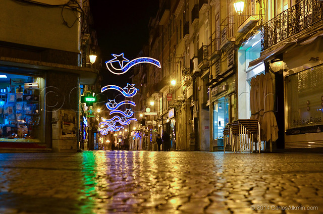 Central street in Coimbra at night
