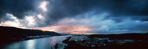 sunset film oregon portland landscape pano panoramic pinhole pacificnorthwest lensless analogphotography willametteriver 6x17 stormlight colorfilm kodakektar100 realitysosubtle141