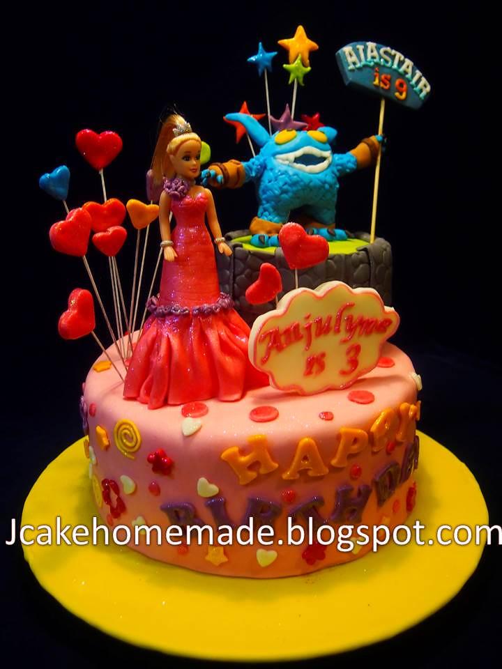 Amazing Skylander And Barbie Birthday Cake A Photo On Flickriver Birthday Cards Printable Inklcafe Filternl