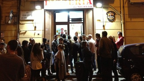 People queuing outside Pizzeria da Michele, Naples (Taken at 21:50)