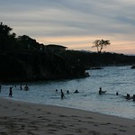 Swimming after dark, North Shore, Oahu