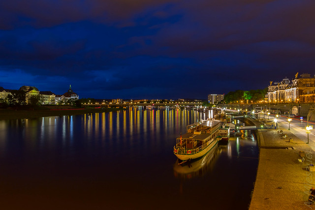 Dresden river at night