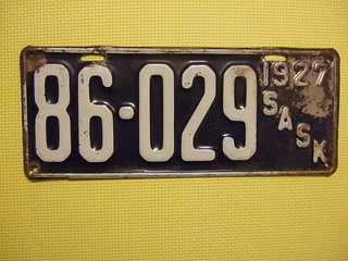 SASKATCHEWAN 1927 LICENSE PLATE #86-029