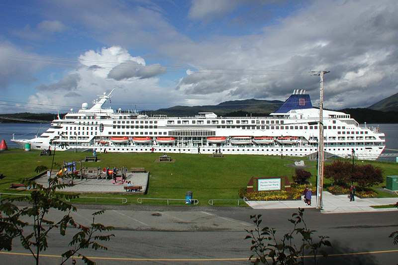 Cruise Ship docked in Prince Rupert, West Coast of Northern British Columbia, Canada