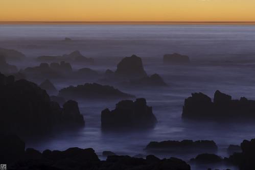 ocean longexposure blue sunset orange sun water rocks waves pacific horizon pacificocean orangesky pacificgrove asilomar pacificcoast silky bluerocks