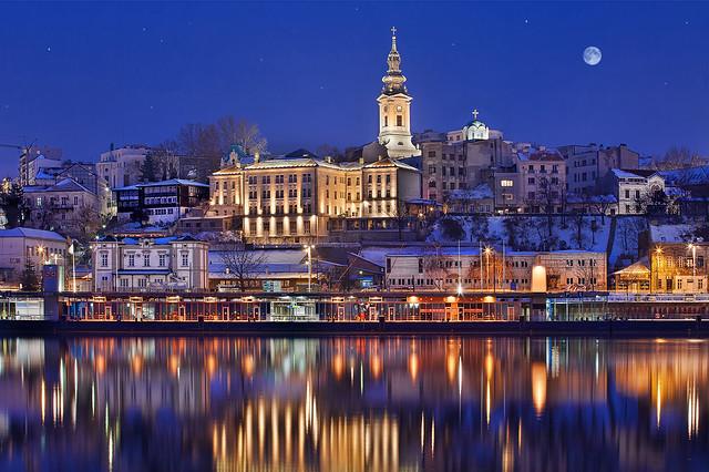 Поглед на стари Београд, реку Саву и Саборну Цркву