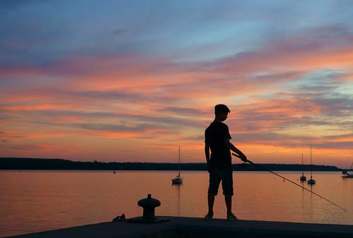 boy sunset cloud water fishing nuage